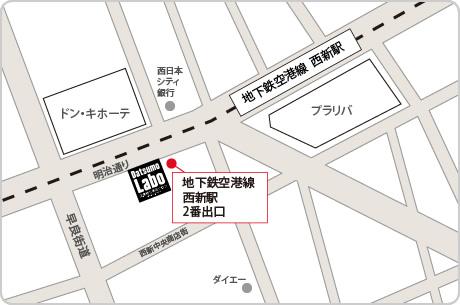 脱毛ラボ福岡メンズ店アクセスマップ
