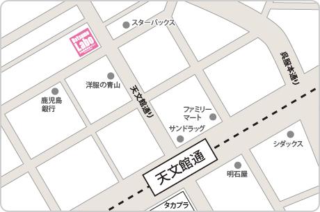 脱毛ラボ鹿児島店アクセスマップ
