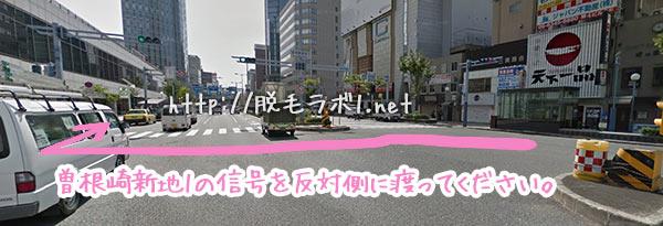 北新地駅からのアクセス。曽根崎新地1の信号があるので、反対側に渡ってください。